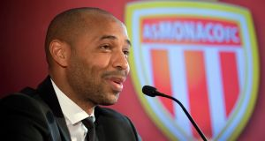 New AS Monaco head coach Thierry Henry   during his official media presentation at the Monaco Yacht Club on  Wednesday. Photograph: Olivier Anrigo/AP