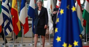 British prime minister Theresa May arrives for the European Council summit in Brussels. There is backing  for the idea of extending the UK transition period by a year – although the UK would have to ask for it. Photograph: EPA