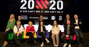 Evanne Ní Chuilinn, Heather Thornton, Jessica Harrington (horse trainer), Sarah Keane (President Olympic Federation of Ireland), Sarah Colgan, Casey Stoney (Manchester United women's coach), Rena Buckley (18 times All-Ireland winner), Mary O'Connor, Graham Shaw (Ireland women's hockey coach) and Ger Gilroy are pictured at the launch of 20x20, a new campaign presented by the Federation of Irish Sport. Photograph: Morgan Treacy/Inpho