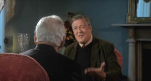 Stephen Fry is interviewed by Gay Byrne on 'The Meaning of Life'. Photograph: RTÉ