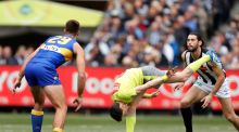 A new rule at restarts means  players will have to line up in their respective sectors of the field, three by six in the 18-man Australian game. Photograph: Michael Willson/AFL Media/Getty Images