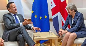 Taoiseach  Leo Varadkar and British prime minister Theresa May during a bilateral meeting in Brussels yesterday.  Photograph: PA