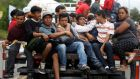 Honduran migrants, part of a caravan trying to reach the US,  in Zacapa, Guatemala, on Wednesday. Photograph: Edgard Garrido/Reuters