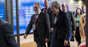 "British ambassador to the EU Tim Barrow  and prime minister Theresa May:  ""I remain confident of a good outcome,"" said Ms May. Photograph: Aris Oikonomou"