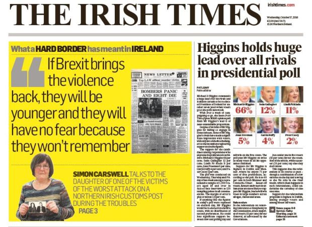 The front page of 'The Irish Times' from Wednesday, October 17th, 2018