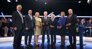 Presidential candidates gather before the Virgin Media debate on Wednesday Photograph: Nick Bradshaw