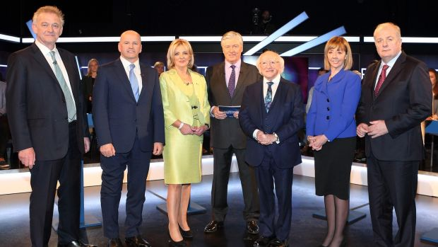 (Left to right) Presidential candidates Peter Casey, Seán Gallagher, Liadh Ní Riada, Michael D Higgins, Joan Freeman and Gavin Duffy pictured alongside host Pat Kenny ahead of Virgin Media Television's presidential debate. Photograph: Brian McEvoy.