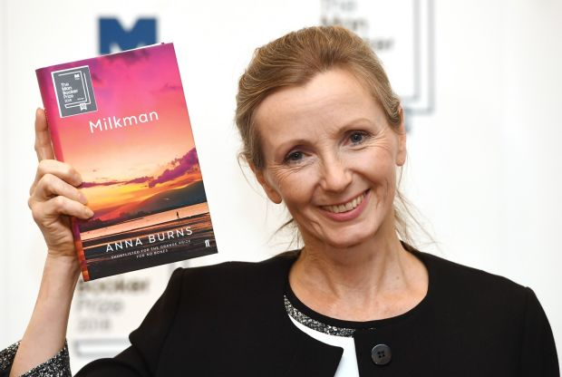 Anna Burns: the Northern Irish writer on Tuesday night, after winning the Man Booker Prize for Milkman. Photograph: Facundo Arrizabalaga/EPA