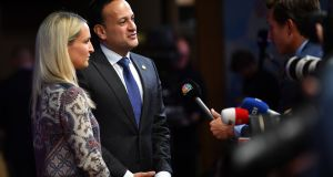 Taoiseach  Leo Varadkar and Minister of State for European Affairs Helen McEntee speaking to journalists before Wednesday's European Council dinner. Photograph: Ben Stansall / AFP/Getty
