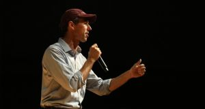 Beto O'Rourke, running for the US Senate seat, addresses supporters during a campaign rally at Texas Southern University in Houston last week. Photo: Loren Elliott/Reuters