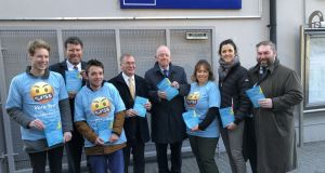 Fine Gael blasphemy referendum canvass at Tara Street Dart station, with YFG members (t-shirts), and (left to right) Sen Anthony Lawlor, Sen Colm Burke, Minister Charlie Flanagan, Sen Michelle Mulherin, and Cllr Barry Ward. Source: Jack Power/The Irish Times