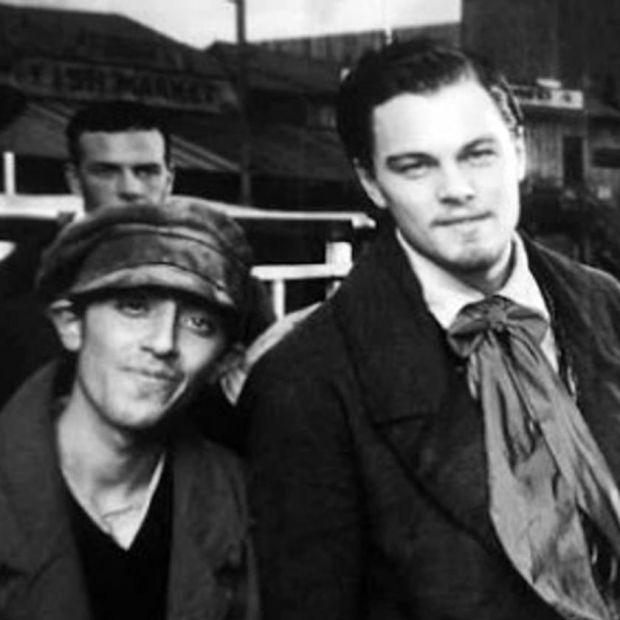 Gangs of New York: Marcello Fonte with Leonardo DiCaprio on set in 2002. Fonte didn't recognise Daniel Day-Lewis, who took the photograph
