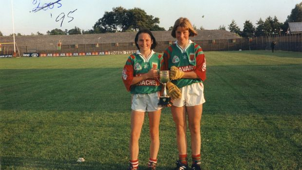 After winning the Under-16 Connacht title, Cora, right, with her clubmate Michelle McGing. Photograph: Game Changer autobiography