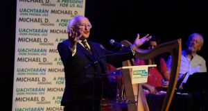 President Michael D Higgins at the Civic Theatre in Tallaght: his term has demonstrated no lack of energy. Photograph: Cyril Byrne