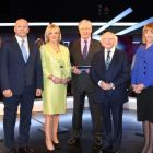Presidential candidates: Peter Casey, Seán Gallagher, Liadh Ní Riada, moderator Pat Kenny, Michael D Higgins, Joan Freeman and Gavin Duffy at the Virgin Media One debate this week. Photograph: Brian McEvoy/PA Wire