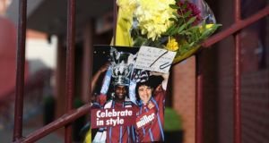 Tributes to Dalian Atkinson left outside Villa Park in Birmingham in 2016. File photograph: Stu Forster/Getty Images