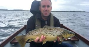 Dominic Murphy (Tallaght) with a magnificent end-of-season 8lb (68cm) trout from Lough Sheelin.