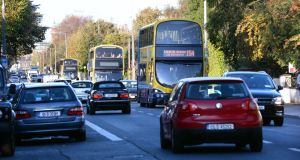 Bus traffic on the busy Rathgar Road, in Dublin 6. Photograph: Cyril Byrne/The Irish Times