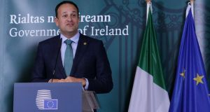 Taoiseach Leo Varadkar addresses a press conference at the EU summit at the European Council in Brussels. Photograph:  Getty Images