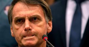 Brazil's right-wing presidential candidate for the Social Liberal Party (PSL) Jair Bolsonaro: party increased its share of vote by 1,341 per cent . Photograph: Mauro Pimentel