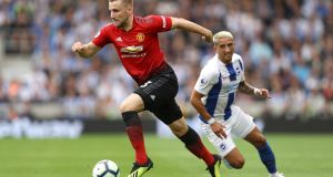 Luke Shaw in action against Brighton and Hove Albion  in August.  Shaw's form has been one of the few positives for United this season. Photograph: Dan Istitene/Getty Image