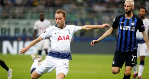 Tottenham's Christian Eriksen shoots during his team's Champions League clash against Inter Milan, in   Milan, Italy, in September 2018. File photograph:  Stefano Rellandini/Reuters