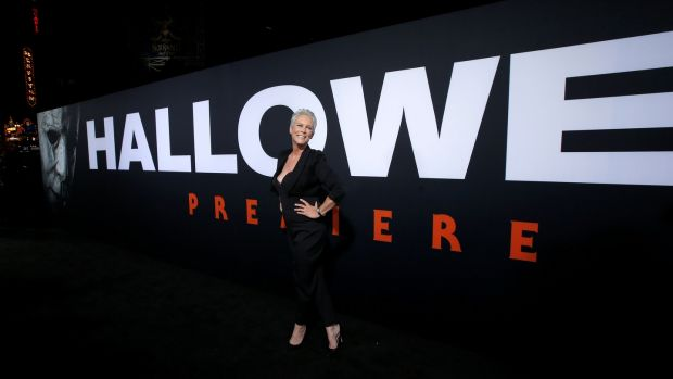 Jamie Lee Curtis poses at the Hollywood premiere of Halloween on October 17th. Photograph: Reuters/Mario Anzuoni