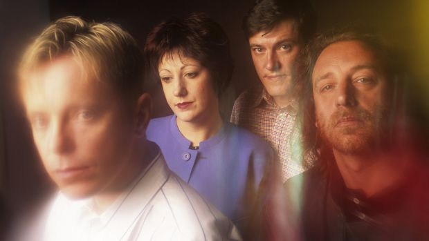 Gillian Gilbert and Stephen Morris (centre) with New Order bandmates Bernard Sumner and Peter Hook pose in October 1989. Photograph: Bob Berg/Getty Images