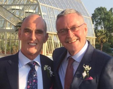 Frank McDonald and his husband, Eamon Slater, at the National Botanic Gardens on their wedding day, in 2016