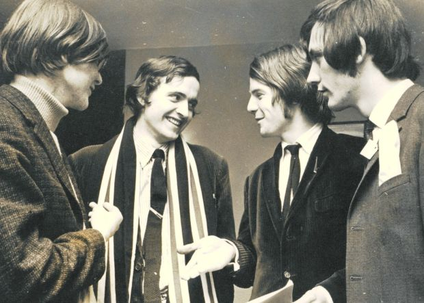 Frank McDonald (centre), UCD delegate at the 1969 USI Congress in Rosses Point, Co Sligo, with Tom Hayes and Seán Finlay