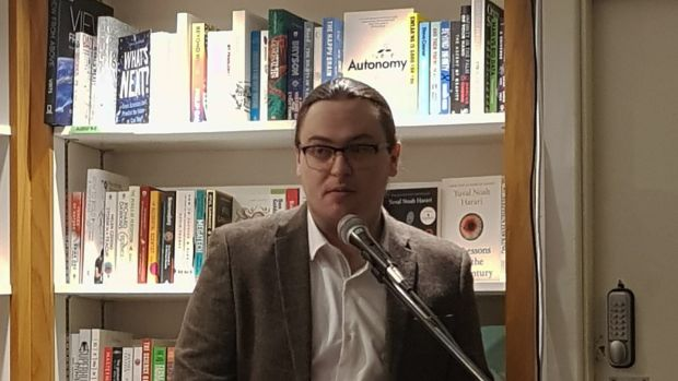 Dean Ruxton speaking at his book launch on Wednesday in The Gutter Bookshop in Dublin. Photograph: Rachel Flaherty