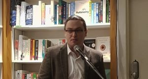 Dean Ruxton speaking at his book launch on Wednesday in The Gutter Bookshop in Dublin.