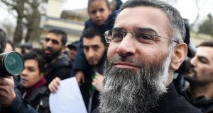Anjem Choudary outside a bail hostel in north London after his release from Belmarsh Prison. Photograph: David Mirzoeff/PA Wire