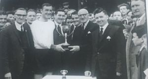 Jimmy Hasty receiving  Dundalk FC's footballer of the year award for 1965