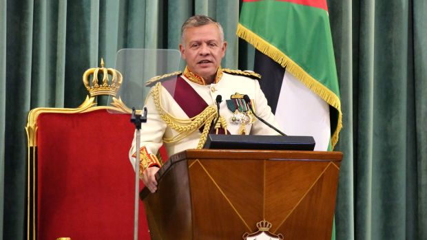 King Abdullah II of Jordan gives the throne speech at the inauguration of the 18th parliament's third session in Amman. Photograph: Amel Pain