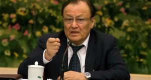 Shohrat Zakir, chairman of the Xinjiang Uyghur Autonomous Region, describes the mass internment of ethnic minority Muslims as a system of training centres. Photograph: AP/Ng Han Guan