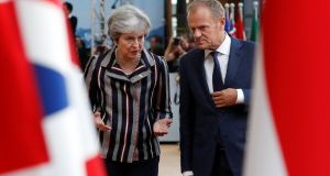 European Council president Donald Tusk  with Britain's prime minister Theresa May: backstop agreement is major stumbling block.