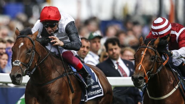 Frankie Dettori riding Cracksman to victory in The Investec Coronation Cup at Epsom in June. The pair will be reunited for the Champion Stakes at Ascot. Photograph: Alan Crowhurst/Getty Images
