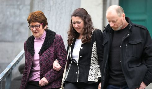 Angela Houlihan (far left), who is the  sister of the late John Anthony O'Mahony, leaves Tralee court  Photograph: Domnick Walsh
