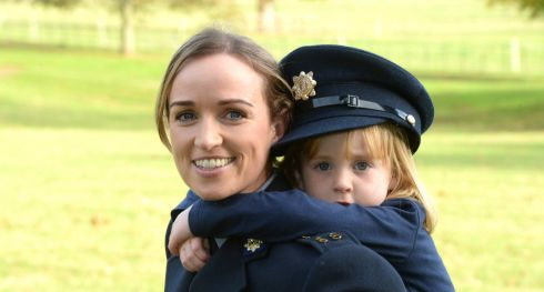 Garda Maria Freeley with her daughter  Sarah Jane at Farmleigh in Dublin after she was awarded a bravery certificate for her work in saving  a man from the river Corrib. Photograph: Cyril Byrne