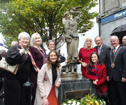 In Ballina, Co Mayo the community commemorated the memory of its 137 Mayo Famine orphan girls sent from its workhouses to Australia between 1848-1852 with the unveiling of a statue on Pearse St and attended by the Minister, Mary Mitchell-O'Connor.  Photograph: Henry Wills