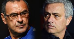 Maurizio Sarri, manager of Chelsea; and Jose Mourinho, manager of Manchester United. Photograph: Aitor Alcalde/Getty Images