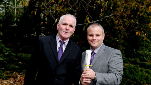 Eugene Duff and Paul McInerney who were each awarded a bronze medal for their bravery. Photograph: Maxwell's