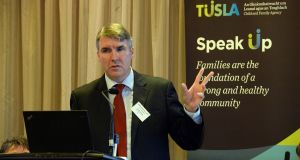 Dr Niall Muldoon, Ombudsman for Children, speaking at the Niapp conference. Photograph: Cyril Byrne