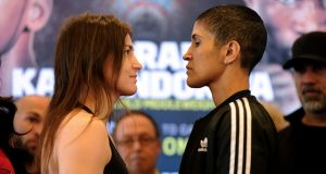 Katie Taylor vs Cindy Serrano weigh-in, Boston Harbor Hotel. Photograph: Credit INPHO/Emily Harney