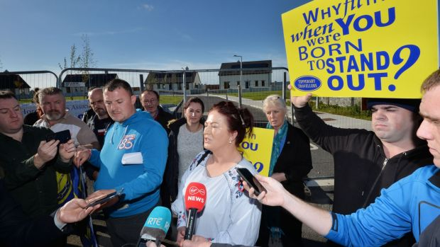 Protesters speaking after Presidential Candidate Peter Casey visited Cabra Bridge, Thurles on Thursday speaking to members of the media. Photograph: Alan Betson / The Irish Times