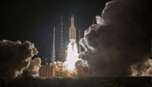 The Ariane 5 rocket carrying the BepiColombo spacecraft lifts off from its launch pad at Kourou in French Guiana in the early hours of Saturday. Photograph: JM Guillon/2018 ESA-CNES-Arianespace via AP.
