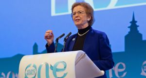 Mary Robinson addressing the One Young World summit in The Hague, the Netherlands on Saturday. Photograph: One Young World/PA Wire