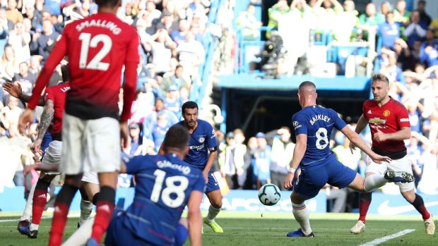 Chelsea's Ross Barkley fires home a late equaliser against Manchester United in the Premier League game at Stamford Bridge. Photograph: Daniel Leal-Olivas/AFP/Getty Images