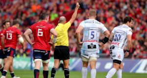 Gloucester outhalf Danny Cipriani is sent off by referee Alexandre Ruiz during the Heineken Champions Cup  match at  Thomond Park. Photograph: Ryan Byrne/Inpho